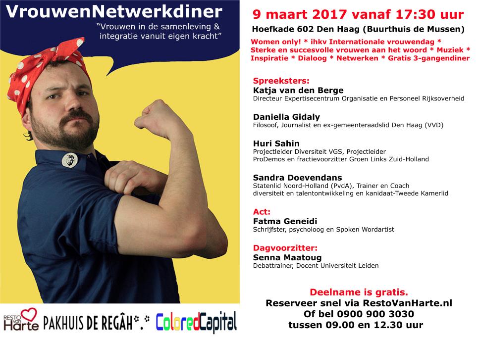 Vrouwendag Netwerkdiner 9 maart 2017 Clored Capital, Resto VanHarte Pakhuis de Regah Pakhuis de Reiger een soort Pakhuis de Zwijger in Den Haag